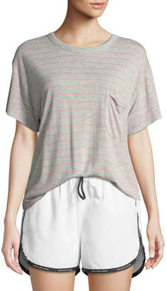 Alexander Wang Thin Striped Slub Short-Sleeve Tee with Pocket