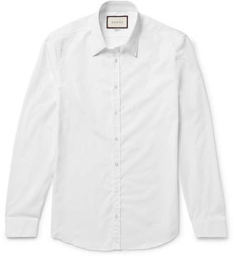 Gucci White Slim-Fit Cotton-Poplin Shirt