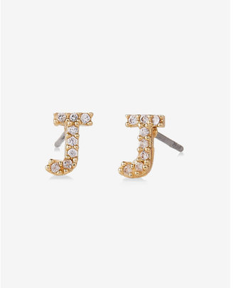 Express Pave J Initial Stud Earrings $14.90 thestylecure.com