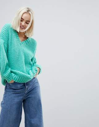 Asos Oversized Jumper In Rib With Pleat Sleeve