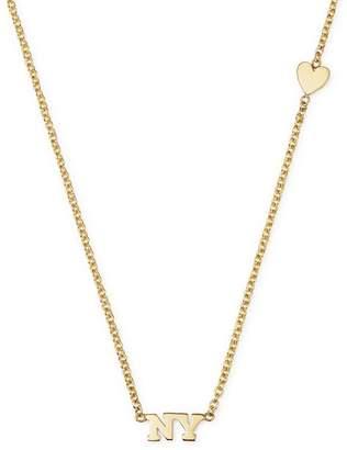 """Chicco Zoë 14K Yellow Gold Tiny Heart & NY Necklace, 16"""""""