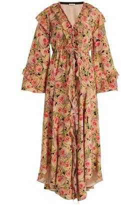 Vilshenko Kateryna Peony-print silk crepe de Chine dress