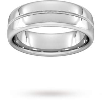 7mm Flat Court Heavy Milgrain Centre Wedding Ring In 18 Carat White Gold