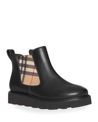 Burberry Hayden Check-Insert Chelsea Boots, Toddler/Kids