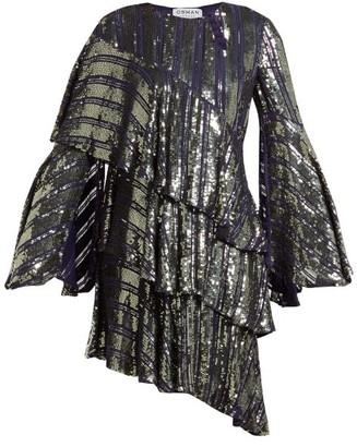 Osman Tina Sequin Asymmetric Tiered Dress - Womens - Dark Grey