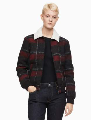 Calvin Klein plaid sherpa lined jacket