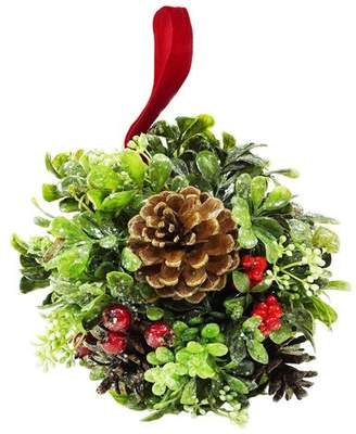 The Holiday Aisle Glittered Artificial Boxwood Berry and Pine Cone Christmas Kissing Topiary Ball
