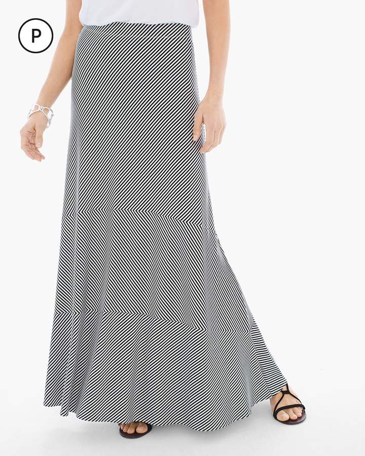 Chico's Stripe Seamed Maxi Skirt