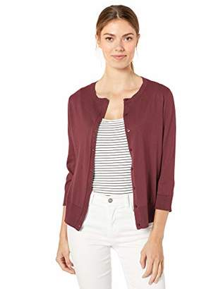 Chaps Women's 3/4 Sleeve Cotton Crewneck Cardigan,S
