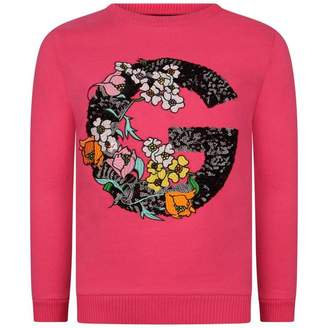 GUESS GuessGirls Fuchsia Floral Sequin Logo Sweater