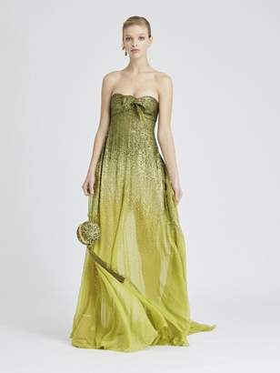 Oscar de la Renta Degrade Sequin-Embroidered Silk-Chiffon Gown