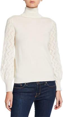 Neiman Marcus Blouson-Sleeve Turtleneck Cashmere Sweater