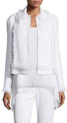 St. John Collection Zimmari Fringe Bracelet-Sleeve Jacket, Bianco $2,395 thestylecure.com