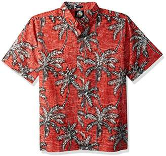 Reyn Spooner Men's Palm Seas Kloth Classic Fit Hawaiian Shirt Coral