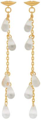 ALEXACHUNG Gold Lip Multiple Drop Earrings