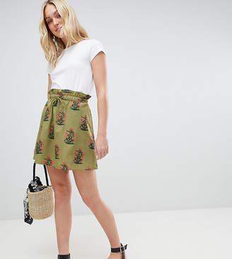 Asos Tall DESIGN Tall cotton mini skater skirt with pockets in green floral print