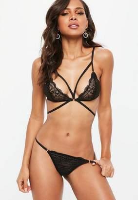8239c41422 Missguided Black Strappy Lace Triangle Bra