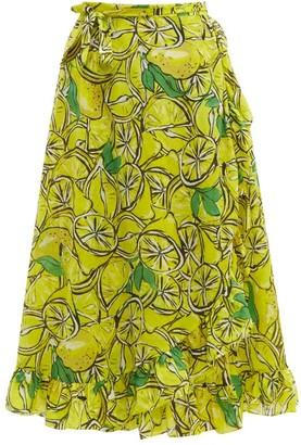 Diane von Furstenberg Clarissa Lemon Print Wrap Cotton Blend Skirt - Womens - Yellow Multi