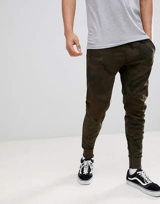 Pull&Bear Jogger With Zip Hem In Khaki Camo