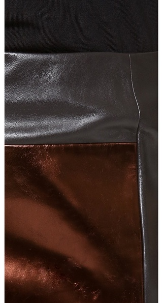 M. PATMOS Mixed Leather Skirt