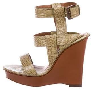 Bottega Veneta Crocodile Wedge Sandals