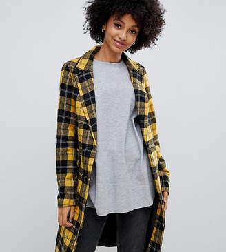 New Look tailored coat in mustard tartan