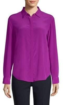 Donna Karan Long-Sleeve Silk Button-Down Shirt