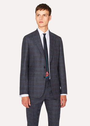 Paul Smith Men's Tailored-Fit Blue Plaid Wool Blazer