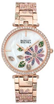 Badgley Mischka Women's Swarovski Crystal Accented Floral Bracelet Watch, 36mm