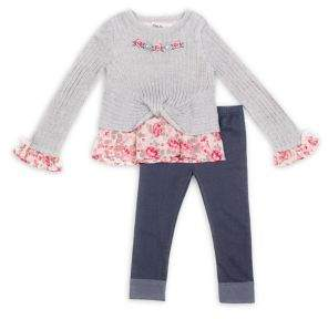 Little Lass Little Girl's Two-Piece Embroidered Top & Contrast Leggings Set