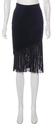 Timo Weiland Fringe-Trimmed Rib Knit Skirt Black Fringe-Trimmed Rib Knit Skirt