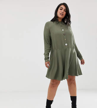 Asos DESIGN Curve swing mini shirt dress with contrast buttons