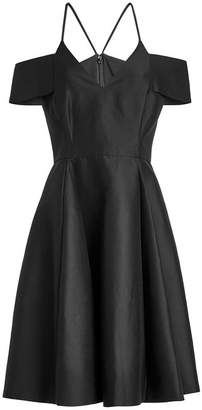 Halston Cold-Shoulder Cotton Dress with Silk