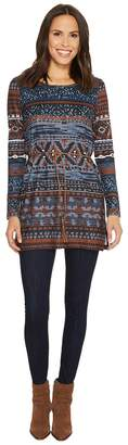 Tribal Long Sleeve Jersey Tunic w/ Beads at Collar and Belt Women's Blouse