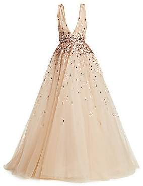 Monique Lhuillier Women's Sleeveless Embroidered Tulle Ball Gown