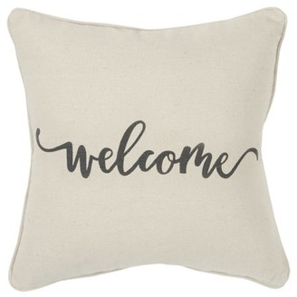 """Rizzy Home Decorative Throw Pillow Cover Holiday""""Welcome"""" 20""""X20"""" Natural"""