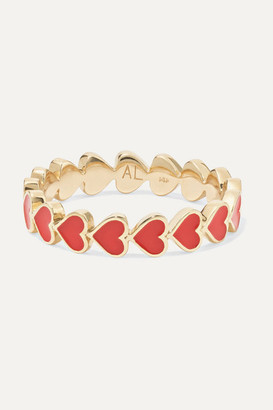 Alison Lou Heart Stack 14-karat Gold And Enamel Ring