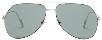 Cartier Eyewear - Premiere De Aviator Metal Sunglasses - Womens - Green Silver