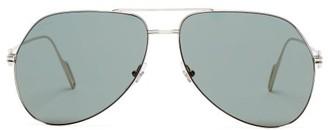 Cartier Eyewear - Premiere De Silver Tone Metal Sunglasses - Womens - Green Silver