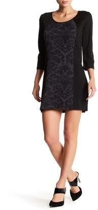 Papillon 3/4 Length Sleeve Contrast Trim Sweater Dress