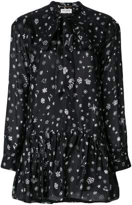 Saint Laurent printed tie neck mini dress