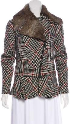 Just Cavalli Virgin Wool Fur Trim Jacket