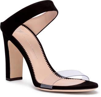 Giuseppe Zanotti Black suede and plexi sandals