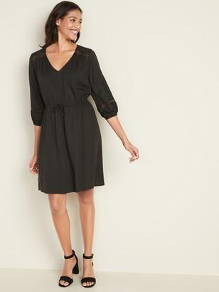 Old Navy Waist-Defined Lace-Trim V-Neck Dress for Women