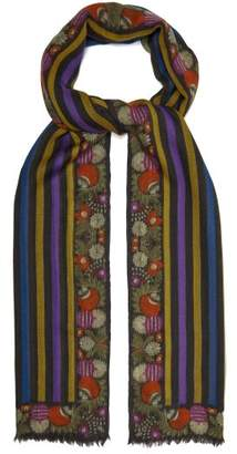 Etro Striped Cashmere Scarf - Womens - Black