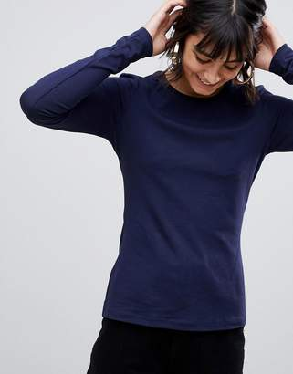 Asos Design DESIGN ultimate top with long sleeve and crew neck in navy