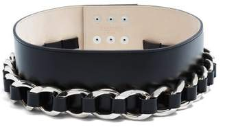 Balmain Chain Embellished Leather Waist Belt - Womens - Silver