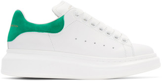 Alexander McQueen White & Green Leather Sneakers $575 thestylecure.com