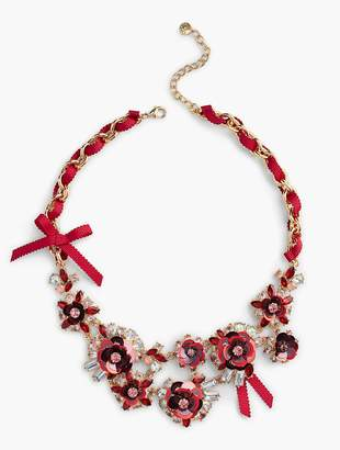 Talbots Sequined-Flower and Ribbon Necklace