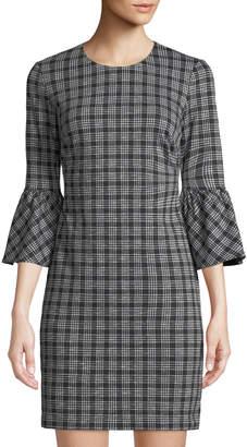 Iconic American Designer Plaid Ponte Flare-Sleeve Shift Dress